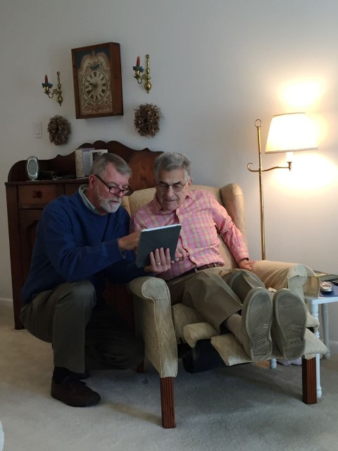 Al shows my Dad how he charts our routes on the iPad.