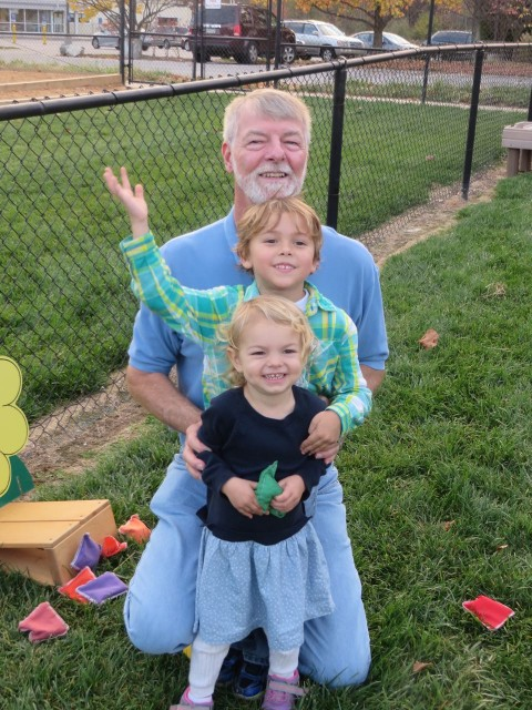 Papa Al with Aaron and Ella, our Delaware grandchildren.