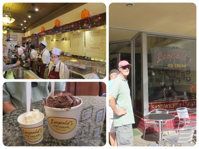 "Leopolds, an ice cream parlor, circa 1935. Long lines, but worth the wait - very creamy delicious ice cream. Please note that AL had a double dip of two chocolate flavors, while I used restraint and had a ""kiddie-size"" coconut scoop."