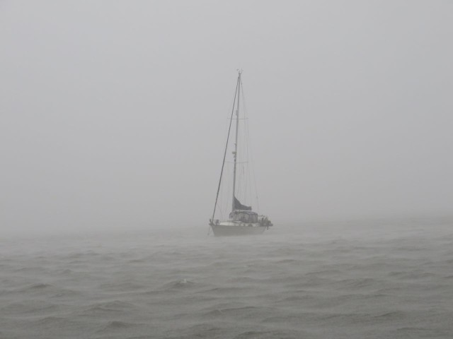 You can see just how heavy the rain was at times - we could barely see Magnolia anchored nearby. Needless to say, we stayed on our own boats that evening!