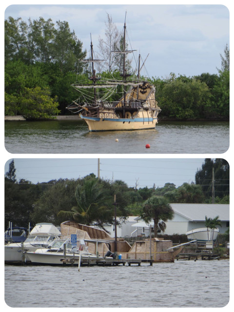 There are many, many boats to oggle and gawk at on the ICW, and this one was definitely one of a kind. At least we thought it was one of a kind until we saw something very similar under construction just a short way ahead. Hmmm, anyone want a pirate boat of their very own?? ARGHH!