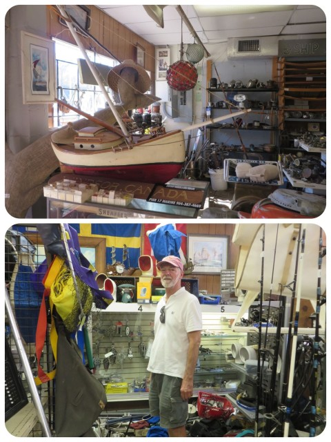 A consignment marine shop – boat stuff everywhere!!! I had my eye on that orange Japanese glass float hanging from the ceiling. Sure would like nice with my other ones at home………. No can do –storage issues.