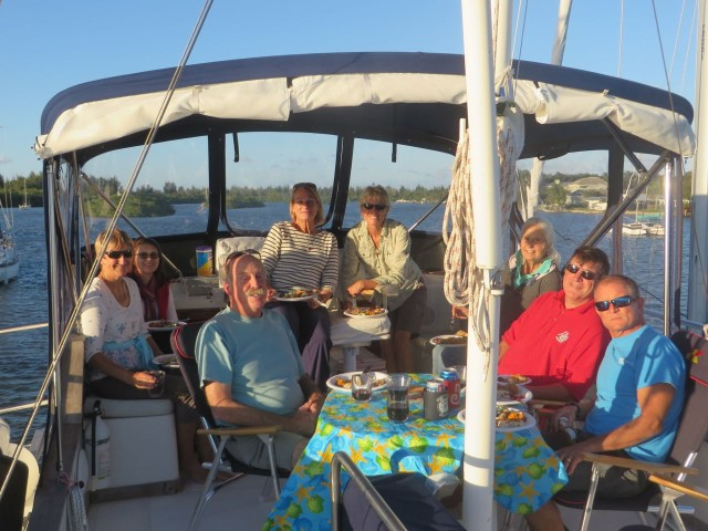 The flybridge became our dining room on this beautiful Thanksgiving Day.