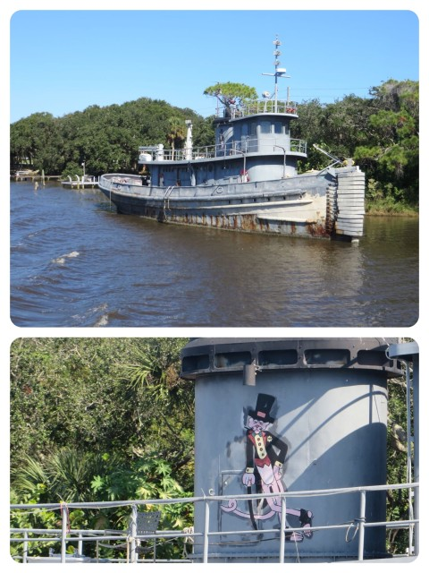 This tug is still docked here right on the ICW. WE looked closer this time and read the name, Tutahaco. She was a large harbor tug commissioned into the Navy in 1945, serving in Puerto Rico and the Caribbean for almost 30 years. Is it someone's home now? Love the Pink panther touch!