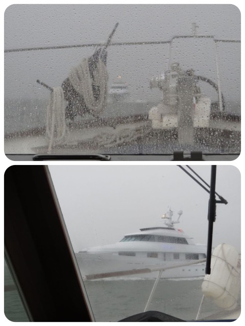 "Big boat coming out – This BIG yacht comes charging out the inlet towards us. I'm thinking, ""you see us, right? He must see us."" Al hails the boat on the VHF, just in case. The captain assures us that the fog is very light in the harbor."
