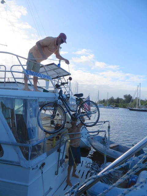 It is still an event to get the bikes into the dinghy and to the shore.