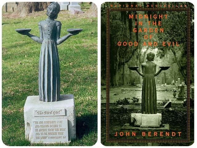 "Left photo - ""Little Wendy"" in her original home, Bonaventure Cemetery. Right photo - on the cover of the book, Midnight in the Garden of Good and Evil, which change her life forever."