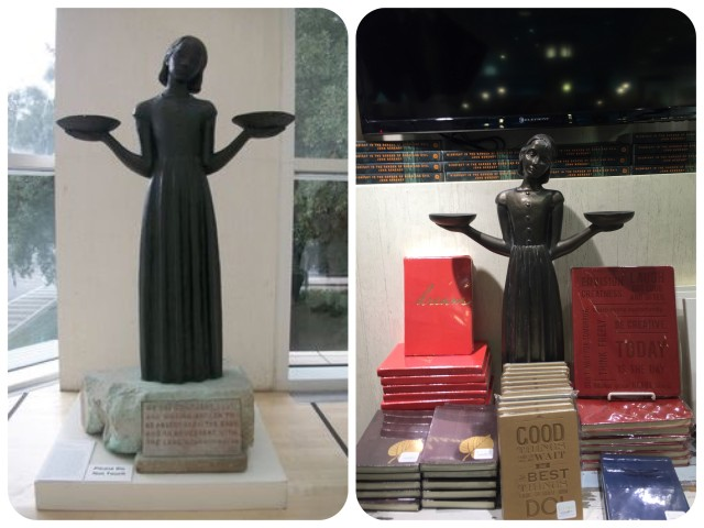 "Left photo - ""Bird Girl"" in her protected home at the Telfair Museum. Right photo - reproductions of ""Bird Girl"" are everywhere in Savannah, from shops along the waterfront to the airport."
