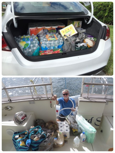 One trunk load.... Followed by a dinghy ride to get it out to the boat. Multiply by 3.