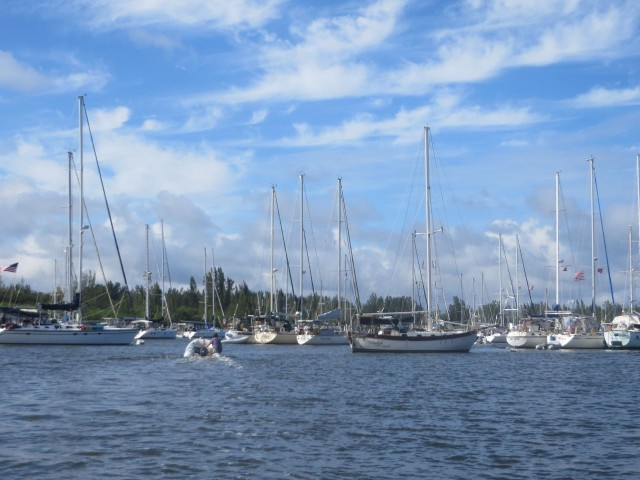 The Vero Beach City Marina's northern mooring field. Because it is just before Thanksgiving, the moorings are getting crowded. You either welcome new friends to raft or you arrange to raft together with old friends.