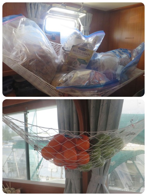 What did n't fit under the salon seats, in the basement bins or any other storage area was left to hang from above. The oranges and apples are in the salon and the cereal and crackers are hanging in the guest cabin so that don't get crushed.