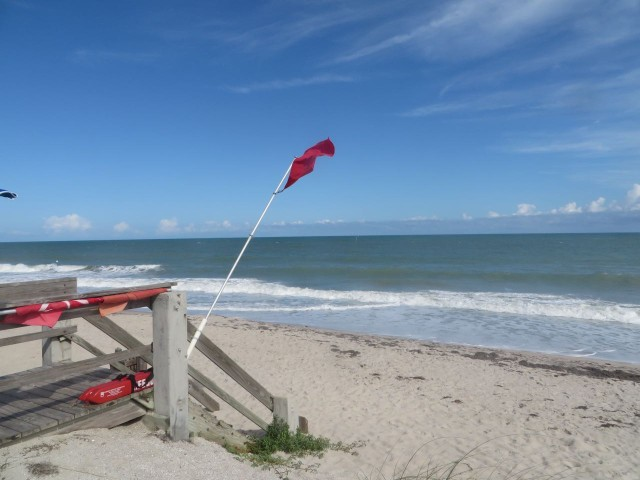 Our beach time has been limited. It is either raining or too rough in the water - RED flag warning on the lifeguard stand.