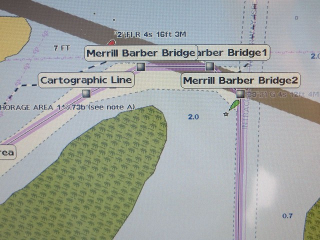 Following the markers on the chart plotter looks like we will go under the bridge or hit the bridge.