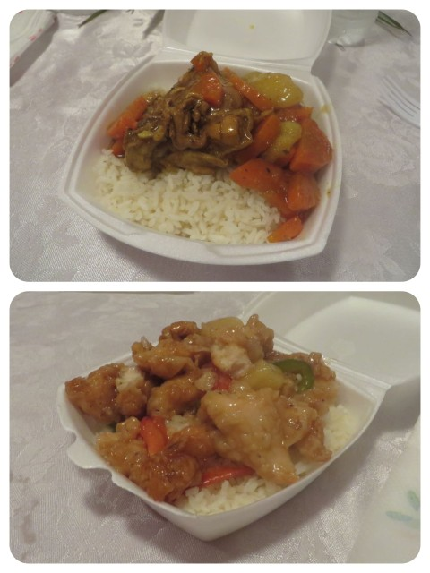 A taste of local food - curried chicken and sweet & sour chicken.