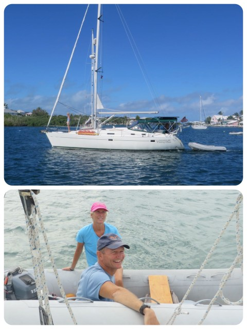 Cutting Class, a Beneteau 38, and her crew, Dan and Marcia.