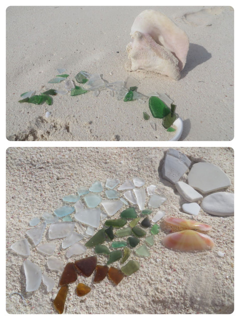 "Top picture is the sea glass that is too raw. Al returns it to the ocean to be ""cooked"" longer. Bottom picture - The Keepers! Some nice sea glass and a lovely sunrise tellurian shell, along with some pottery pieces."