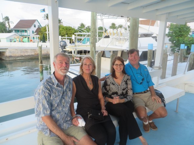 "On the boat to head over to Boat Harbor with Anthony and Annette (s/v Magnolia.) It's fun to get a little dressed up and go to an ""opening""cocktail party."