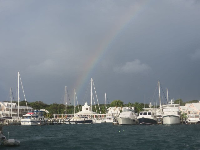 One rainbow shining over the Inn and Marina.