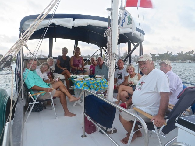 It is possible to fit 12 people on our flybridge! Woo Hoo!