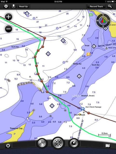 This is our planned route (in brown) and our actual route (in green). We chose to put Don't Rock on our port side because of the direction the winds, knowing that either side of the rock was considered passable.