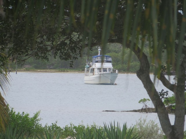 Kindred Spirit sitting pretty in White Sound, Green Turtle Cay. This was the view from the porch of the cottage.