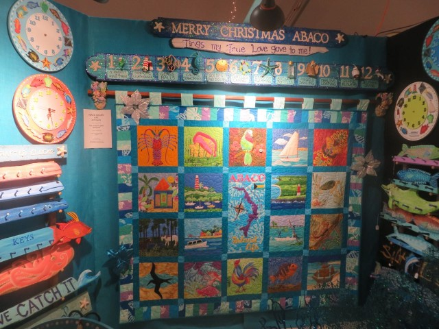 This amazing quilt by Green Turtle quilters will be auctioned off. Each block captured something special about Bahamian life.