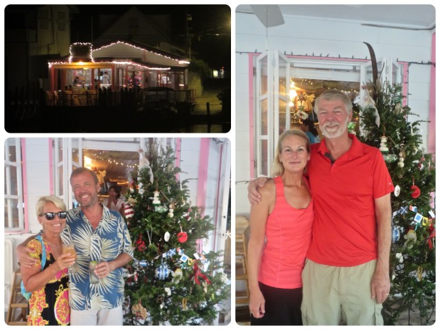 Captain Jacks light display. Magnus and Charlotte (Swede Dreams) on the left and us on the right after hanging our ornaments on the tree.