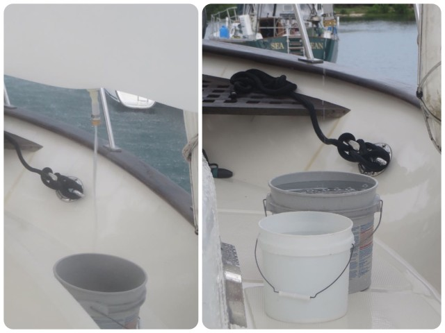Left Picture - See the water streaming into the bucket under the sunshade? Right Picture - Two buckets of water on each side, port and starboard = 4 buckets of water = 14 gallons in 20 minutes. Free.