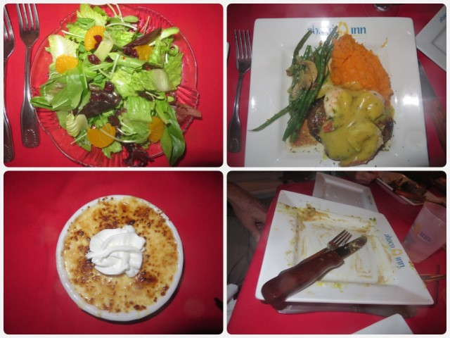 One of the best dinners we have ever eaten - sweet potato soup (no pic), salad, main course of filet on a portobello mushroom topped with shrimp and sides of pineapple sweet potatoes and green beans. Al cleaned his plate and still had room for dessert - raspberry crime brûlée.
