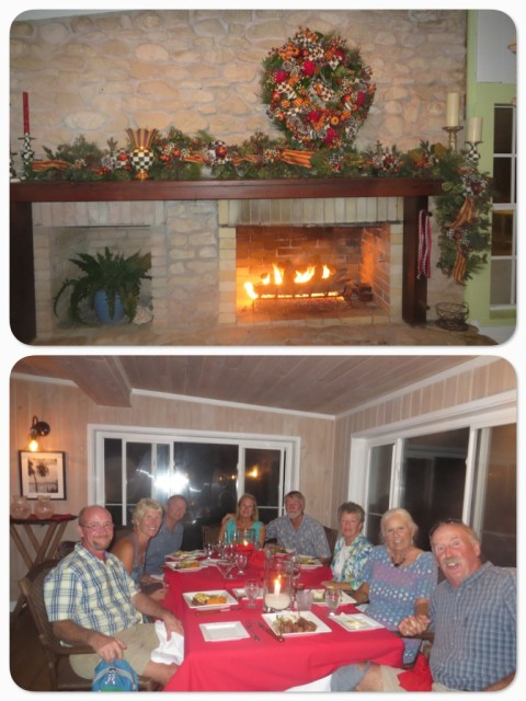 "Christmas dinner with our ""water family"" at the Abaco Inn. Peter, Marcia, Dan, me, Al, Laurie, Kayda, and Sam"