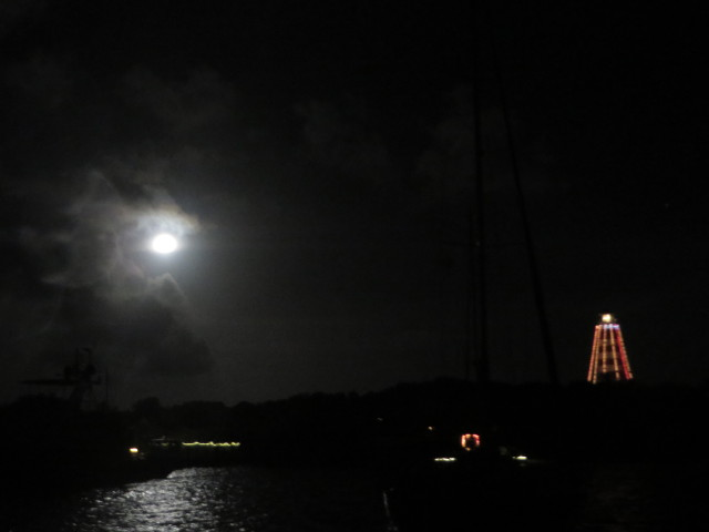The full moon and the Elbow Cay Lighthouse together.