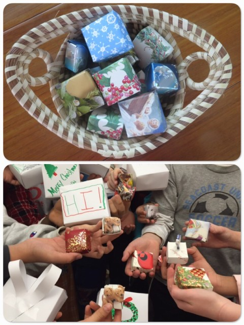 Top pic - a basket with some of my little boxes. Bottom pic- Lisa C., a 6th grade teacher in Glastonbury, my former school district, sent me a photo of her 6th graders' boxes. I passed the tradition onto the 6th grade teachers there who continue to make the boxes together with their students each year. I love that the tradition lives on. Makes me feel so good!