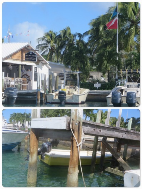 We ate lunch at Dock & Dine where Al had one of those very big juicy burgers again. The rest of us had grilled mani mani burgers. Notice the piling at the dinghy dock - getting skinny in the middle, isn't it?