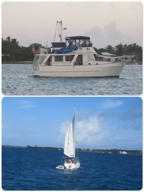 Kindred Spirit anchored off Man O War. Cutting Class underway in the Sea of Abaco.