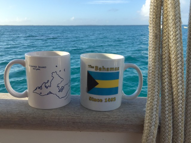 "One of our favorite pleasures while living on the boat is morning coffee out on the aft cockpit, our ""front porch."" This morning the mugs reminded me of our home waters (Fishers Island Sound) and our waters here."