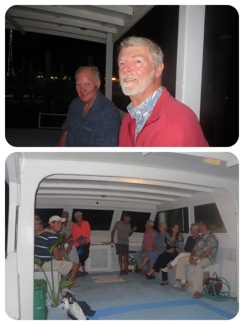 Al and Ben (s/v Loon)  in the back of the boat, and folks that are huddled up front to stay out of the wind.