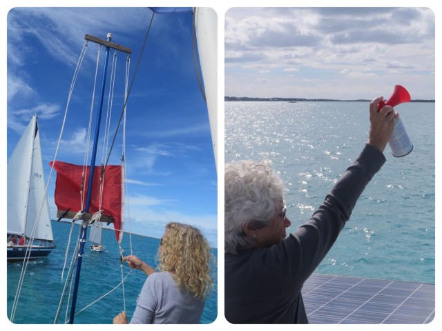 At the zero minute (START) the red flag is pulled down by Denise as Catherine sounds the horn. The race begins!