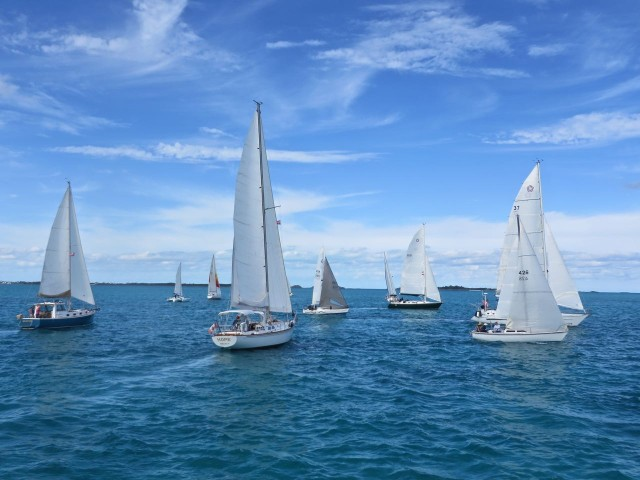 The boats cross the starting line. Our flybridge is a very good vantage point to observe the boats.