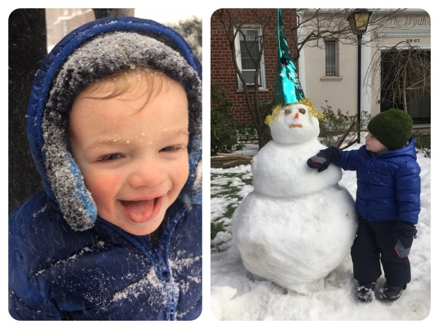 Caleb, 20 months old, discovered he really likes snow, all 26 inches of it in New York City.