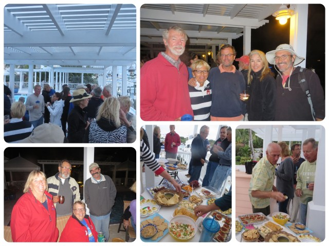 "An organized BIG Happy Hour at the Inn and Marina's pool. Lots and lots of delicious food, much more than ""happy hour snacks"", and a chance fro everyone to get together in one place. Notice the long sleeves? It was a very cool evening."