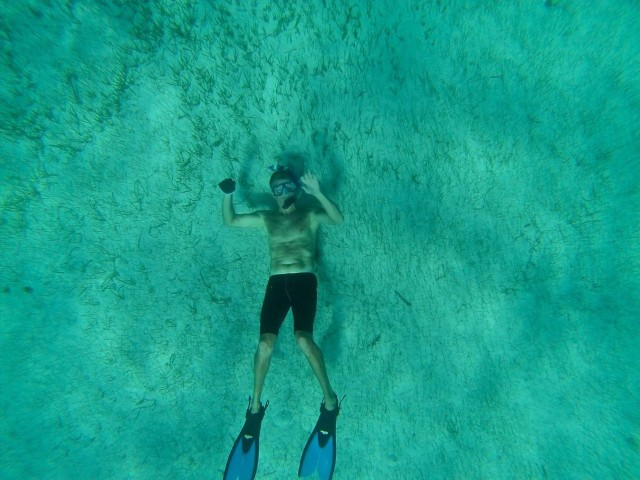 Dan, laying on the bottom waving back at us. He can dive deeper than any of us!!