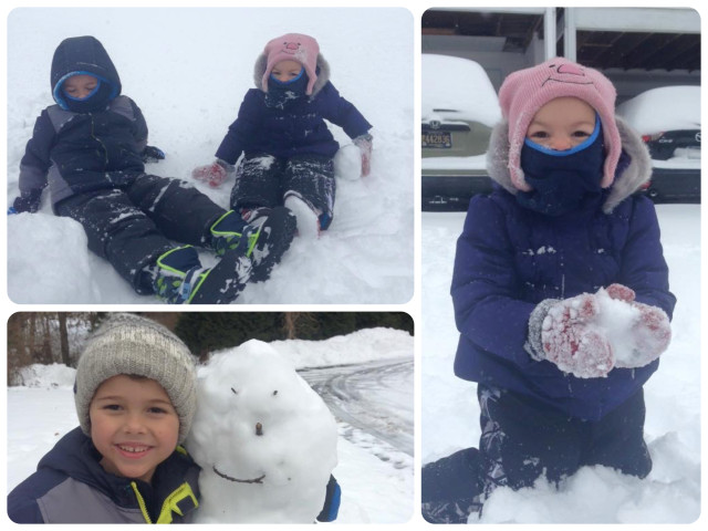 Aaron (6 years old) and Ella ( 2 1/2 years old) enjoying their big snow fall in Delaware.
