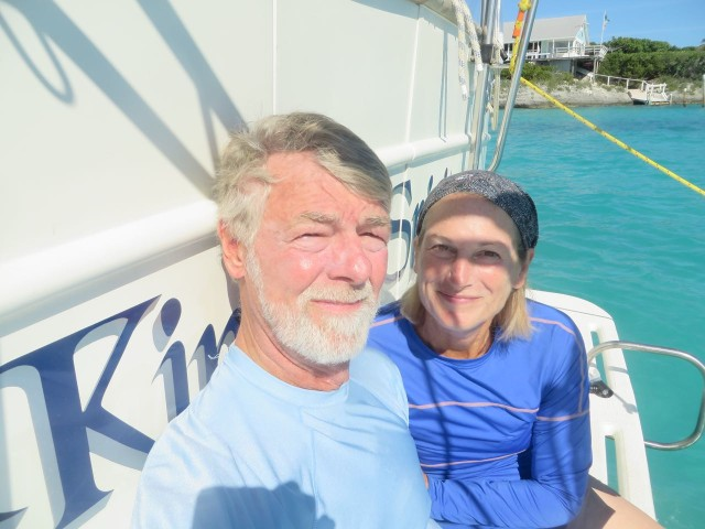 A selfie on the transom before we dive into the water. Al's eyes aren't accustomed to this bright sunshine.