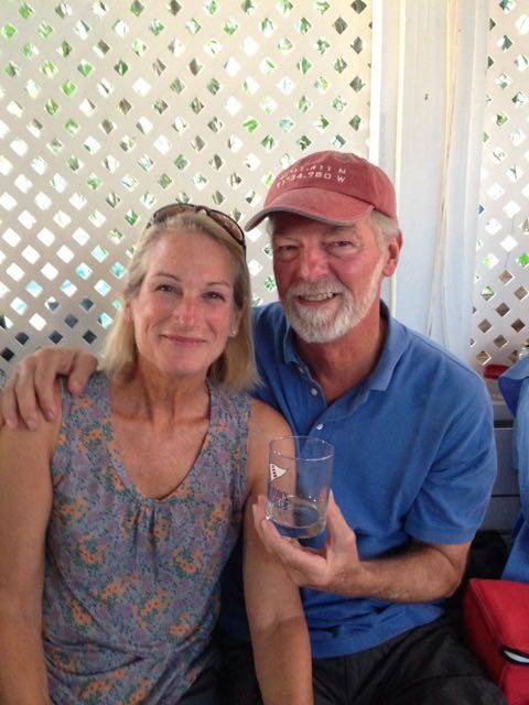 Much to our surprise (and delight) we received a Hope Town Sailing Club glass for serving as the committee boat.