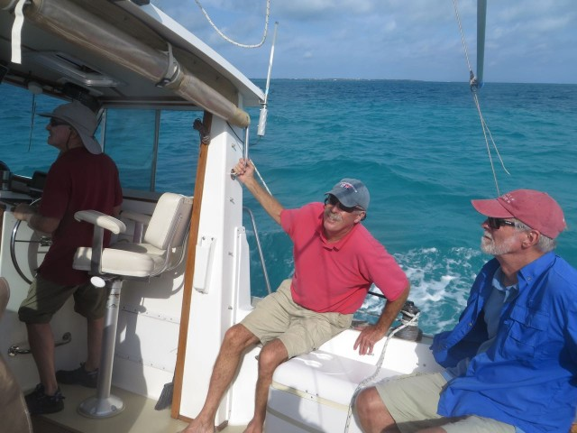 The crew at work. Sam was a very relaxed easy-going Captain, so there were no moments of stress. :-)