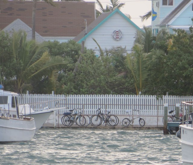The full moon tides brought higher and lower tides than typical. From the deck of Kindred Spirit we could see our bicycles on land, it almost looked like they were sitting on the water.