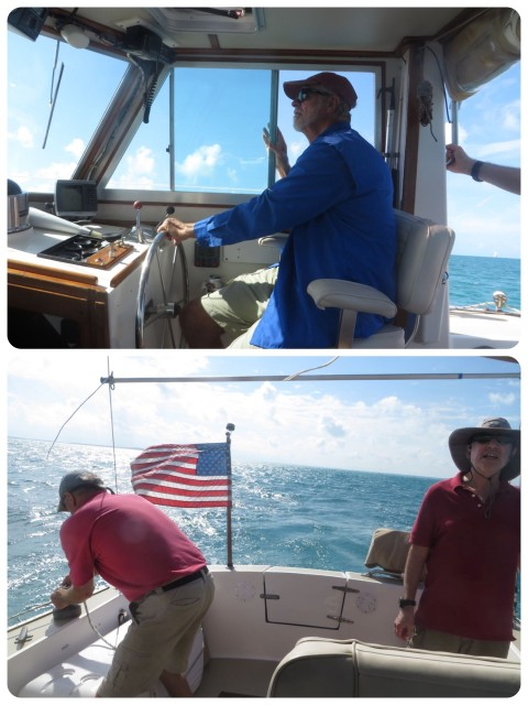 Al at the helm, Sam on the winch, John checking sail shape.