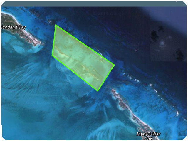The highlighted green area shows the The Fowl Cays National Park, a new 1,920-acre reserve.