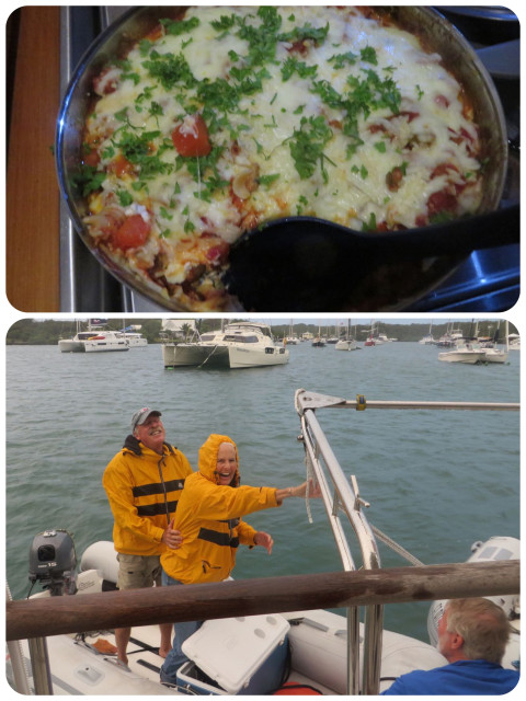 "My ""deconstructed lasagna"" = ziti instead of flat lasagna noodles, turkey, veggies with all of the cheeses dumped in and stirred lightly. Bake in oven. That only works on a cooler day on a boat. Sam and Kayda brave the elements to join us for dinner."
