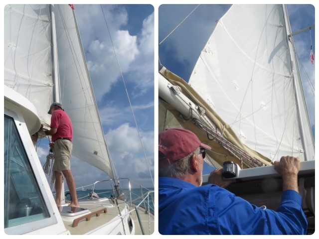 Reefing the main sail - Sam was concerned that the 30 year old sails may find these 15+ knots of wind too stressful. Better to be cautious - the race is just for fun.